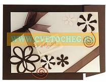 Открытка ручной работы с цветочками и бабочками